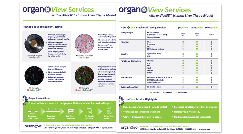 Organovo Print Collateral Sell Sheet